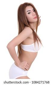 young asian woman white bikini on white background