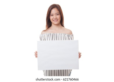 Young Asian woman with white blank sign isolated on white background