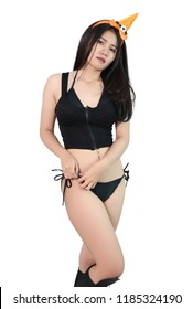 young asian woman witch in black bikini and white background