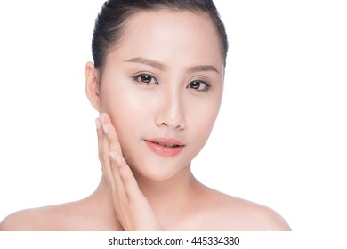 Young asian woman's beauty. Portrait of girl over white background. Beauty treatment, spa, health care, body and skin care concept.