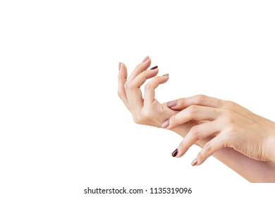 Young Asian women hands with painted nails close up.  Isolated on white background.