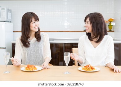 young asian women lifestyle image in the kitchen