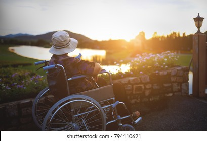 Young asian women pushing the elderly woman on wheelchair in garden,helping and support concept.