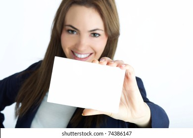 young assistant with card