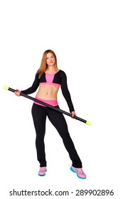 Young athlete with fitbar warming up, isolated on a white background. The concept of sports fitness lifestyle.
