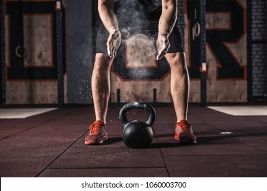 Young athlete getting ready for crossfit training