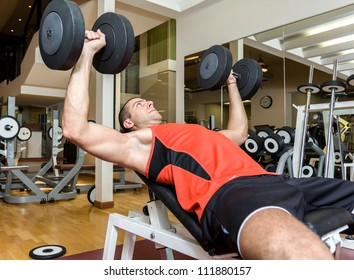 Young athlete lifting weight in the gym