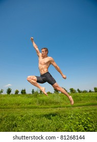 young athletic man jumps