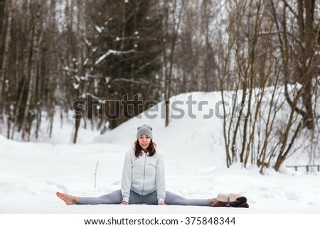 Young Athletic Woman Doing Yoga Woods Stock Photo (Edit Now