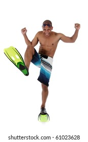 Young attractive African American man in swimsuit with flippers, goggles and  and with the foot bent in a knee. Happy swimmer. Studio shot. White background