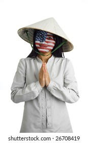 young attractive asian woman with us flag painted on her face and typical welcome expression