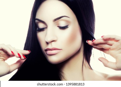 Young attractive beauty woman studio shot. Clean perfect skin, natural make-up.. Female health concept