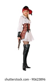 Young attractive blonde with gun dressed as pirates