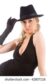 young attractive blonde woman with black hat