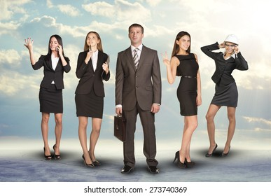 Young attractive business people with four women looking at different sides on abstract background