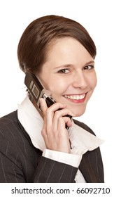Young attractive business woman talks to client on the telephone. Isolated on white background.