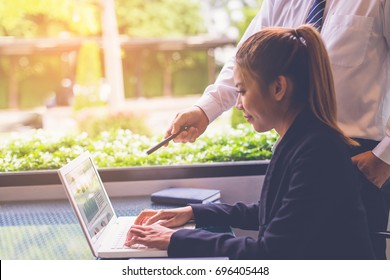 young attractive business woman working with laptop has been guided by her boss