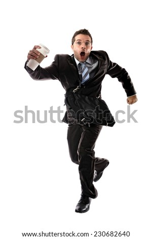 Young Attractive Businessman Take Away Coffee Stock Photo