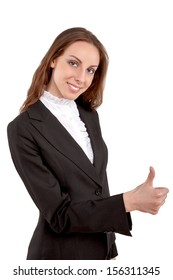 Young attractive businesswoman showing thumbs up