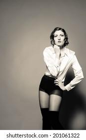 Young attractive caucasian female model
