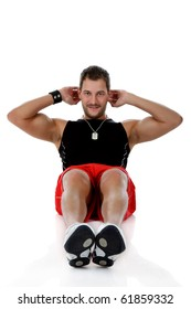 Young attractive caucasian man athlete doing fitness, abdominal exercises. White background. Studio shot.