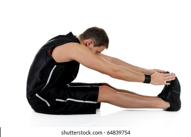 Young attractive caucasian man athlete doing fitness exercises, stretching. White background. Studio shot.