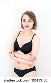 young attractive caucasian woman in lingerie