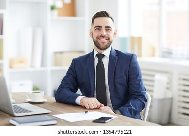 Young attractive cheerful businessman in suit and tie looking at you from his workplace in office