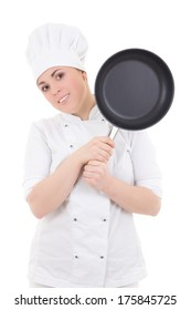 young attractive cook woman in uniform with frying pan isolated on white background