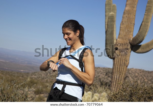 Young, attractive, female hiker
