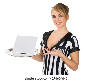 Young Attractive Female Referee Carrying Blank Card On Tray