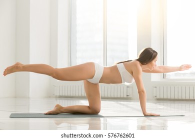 Young attractive fitness woman practicing yoga, standing in Bird dog exercise, Donkey Kick pose, working out, wearing sportswear, sport bra, shorts, indoor full length, white color background