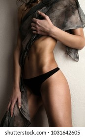 young attractive girl fitness model with athletic body.