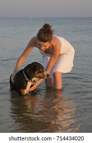 Young attractive girl with her pet dog at the sea beach during sunset.