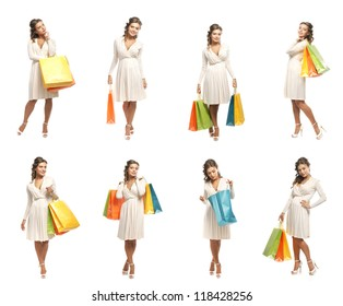 Young attractive girl with the shopping bags isolated on white