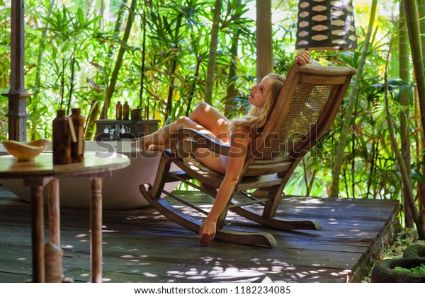 Pleasing Young Attractive Girl Underwear Recline Relax Royalty Free Evergreenethics Interior Chair Design Evergreenethicsorg