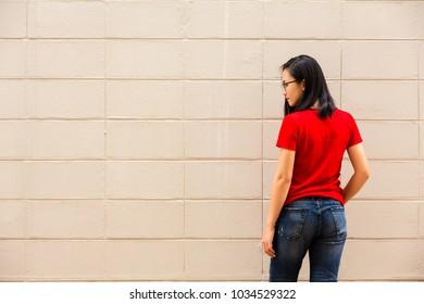 Beautiful teen bent over