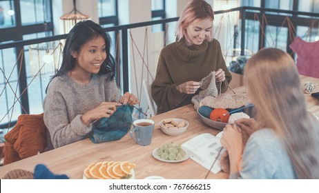 Young attractive girls in a knitting lesson