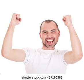 Young attractive happy smile business man stand and expressing success and victory concept