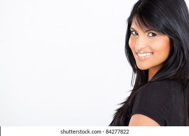 young attractive latin american woman on white with copy space