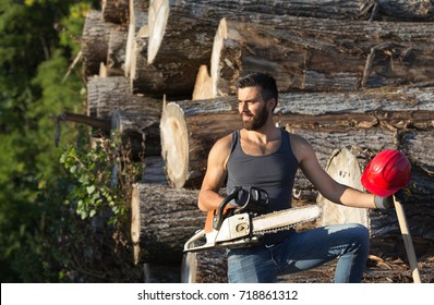 Young attractive lumberjack with beard standing on stacked trunks and holding chainsaw and ax