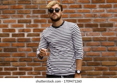 young attractive male model posing in casual wear