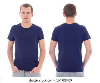 young attractive man in blue t-shirt isolated on white background