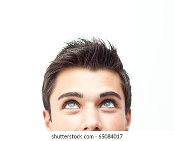 Young attractive man face looking up