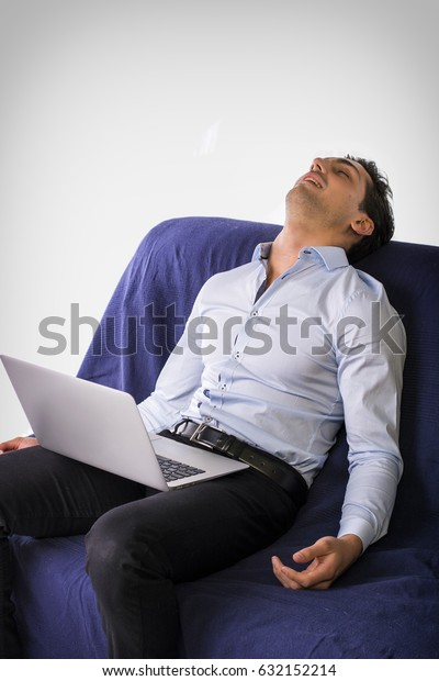 Phenomenal Young Attractive Man Sleeping While Working Stock Photo Unemploymentrelief Wooden Chair Designs For Living Room Unemploymentrelieforg