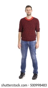 Young attractive man smiling -  whole figure- casual outfit - studio shot - isolated white - copy space