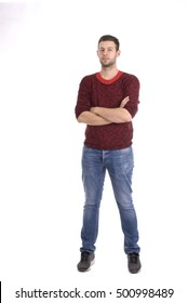 Young attractive man  -  whole figure- casual outfit - studio shot - isolated white - copy space