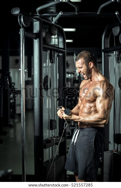 Young attractive muscular bodybuilder doing cable biceps curl exercise in modern fitness center. Toned image.