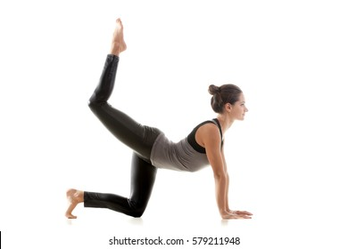 Young attractive sporty woman practicing yoga, doing Donkey Kick exercise, Bird dog pose, working out wearing sportswear, grey tank top, black pants, full length, isolated, white studio background