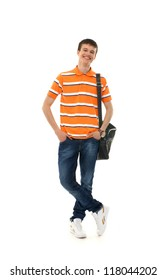 Young attractive teenage boy isolated on white
